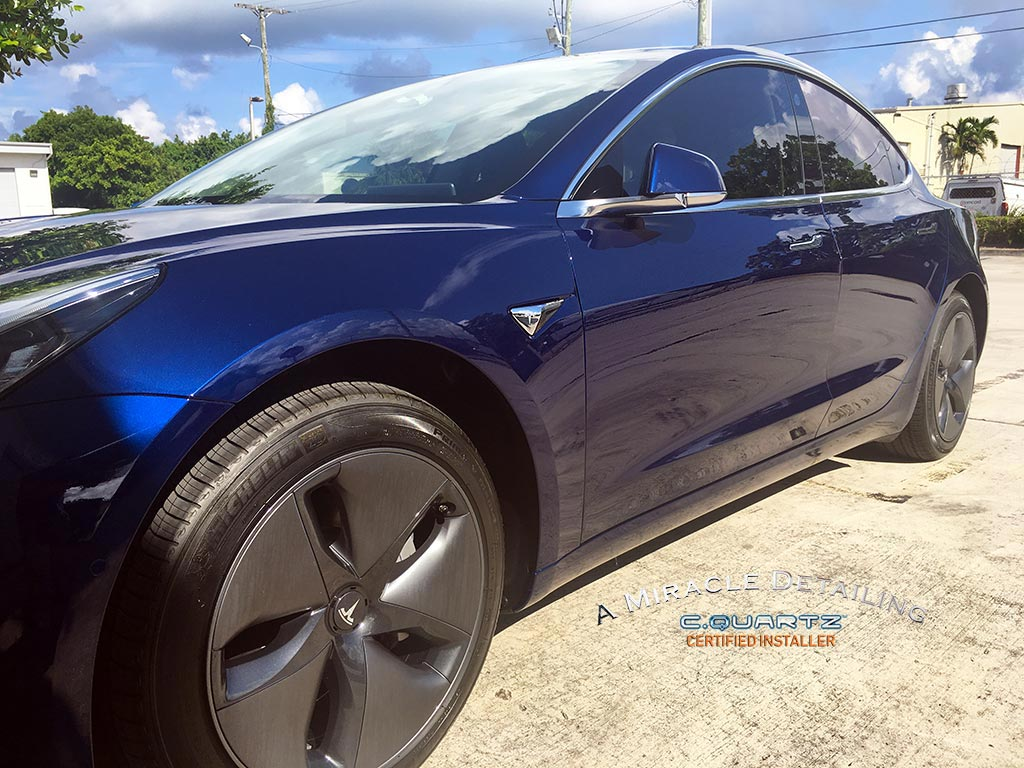 2018 Tesla Model 3 Blue A Miracle Detailing Cquartz